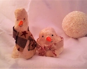 Set of 2 polymer clay, fabric and acrylic snowmen with antiqued details