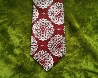1970s Necktie 70s Necktie Mens Vintage Necktie Clip On Tie 1970s Tie 70s Wide Tie Psychedelic Funky Geometric Burgundy Marsala Kings Lynn
