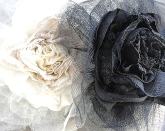 SALE - XL Oversized tulle rose flower cream or black headband by FAIRYTALE13 - romantic vintage - handmade in the Uk.