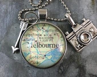 Map Pendant Necklace Melbourne Australia AU