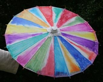 Parasol, rainbow parasol, Tie-dyed parasol, paper parasol.