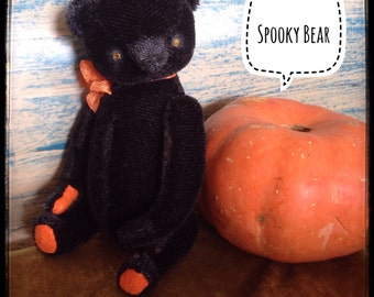 7inch Artist Handmade Black Halloween Teddy Bear Spooky by Sasha Pokrass