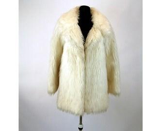 1960s fur coat faux fur coat white shaggy mod coat Young Generation by Lydia Size M/L