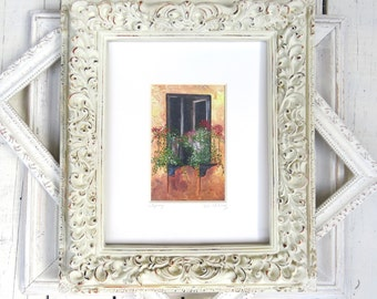 "Window Art, Tuscany Art, Balcony Art, Black Shutters, Cottage Art, Italy, Europe- Giclee Print of Fine Art Oil Painting- ""Tuscany"""