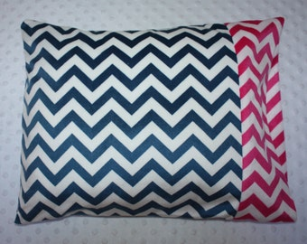 "Navy and Pink Chevron Plush Pillowcase- Soft N Comfy Pillowcase for 12""x16"" Pillow - Toddler Pillowcase- Chevron Pillowcase- Girl Nap Mat"