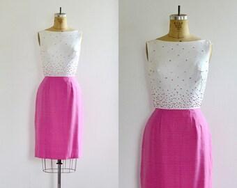 vintage 1950s Dress • Sprinkle Dress • wiggle Dress • 50s Party Dress • Pink Dress • Medium