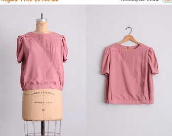 50% OFF SALE vintage pleated blouse • dusty pink • vintage asian blouse