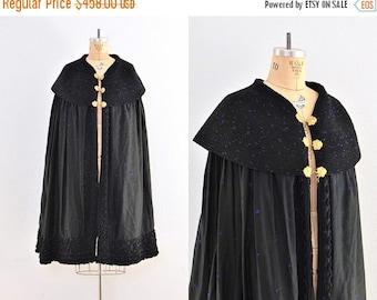 45% OFF SALE.... vintage cape  -  embroidered cape coat  / vintage opera cape / black cape
