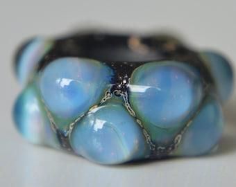 Silver Core Options - OOAK Silver Glass Handmade Lampwork Glass European Charm Bead - Self Representing Artist