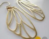 Openwork Wing Earrings- Matte Gold Wing Earrings- Matte Silver Wing Earrings- Cicada Wing Earrings-  EGS-W1