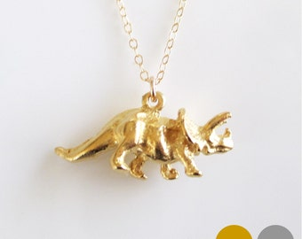 Triceratops Dinosaur Necklace- Sterling Silver Dinosaur Necklace- Gold Dinosaur Necklace- Dino Necklace- Dinosaur Charm Necklace- NGS-DINO3