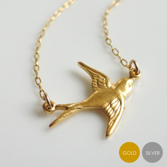 Flying Sparrow Necklace- Matte Gold Bird Necklace- Matte Silver Bird Necklace- Swallow Necklace- Aviary Necklace- NGS-BI1