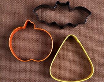 Halloween Cookie Cutter Set: Bat Cookie Cutter, Pumpkin Cookie Cutter, Candy Corn Cookie Cutter, Halloween Party Cookie Cutters