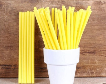 "Yellow Lollipop Sticks, Small Yellow Cake Pop Sticks, Lolly Sticks, Plastic Lollipop Sticks, Marshmallow Pop Sticks (4.5"" - 50ct)"
