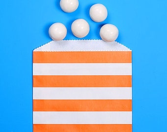 Orange Favor Bags, Halloween Treat Bags, Striped Favor Bags, Wedding Favor Bags, Candy Buffet Bags, Paper Sacks, Striped Bags (12)