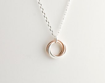 Sterling Silver and 14K Rose Gold Fill Infinity Love Knot Pendant