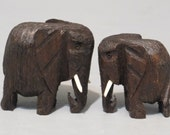 Vintage Miniature Elephant Family Wooden Figurine Set / Hand Carved Wood Mama Papa and Baby Tiny Statue Animal Sculpture Primitive Folk Art