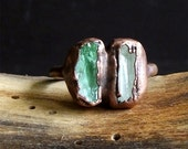 Tourmaline Rough Stone Jewelry Dual Stone Size 5.25 Ring Raw Crystal Gemstone Copper Ring