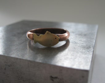 Brass and Copper Fishie Ring