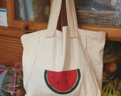 Extra Large cotton grocery bag, large canvas shopping bag, reusable shopping bag, watermelon shopping bag