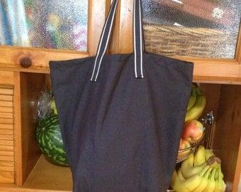 Men's Reusable Shopping Bag, Reusable grocery bag, men's grocery bag, Navy blue market tote