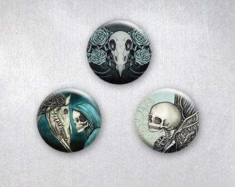 Gothic Romance Momento Mori, Elegant Horror Skulls, Pinback Buttons, Original Art Design, 1.25 inch, Set of 3