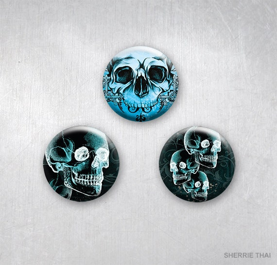 Skull Art Pins by Sherrie Thai of Shaireproductions