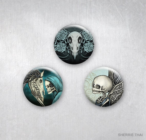 Decorative Gothic Romance Skull Art Pinback Buttons by Sherrie Thai of Shaireproductions