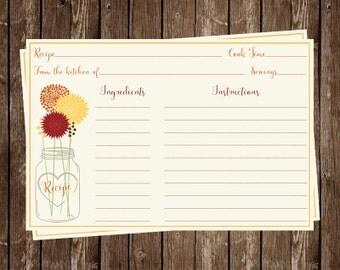 Mason Jar, Recipe Card, Bridal Shower, Red, Orange, Yellow, Wedding, Set of 24 Printed Cards, FREE Shipping, MAJAA, Mason Jar Autumn Breeze