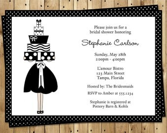 Bridal Shower Invitations, Polka Dots, Black, White, Lace, Simple, Gifts, Brunch, Luncheon, Traditional, Wedding Shower, 10 Printed Invites