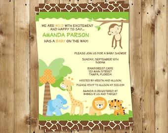 Jungle Baby Shower Invitations, Safari, Animal Print, Monkey, Zoo Animals, 10 Printed Invitations, FREE Shipping