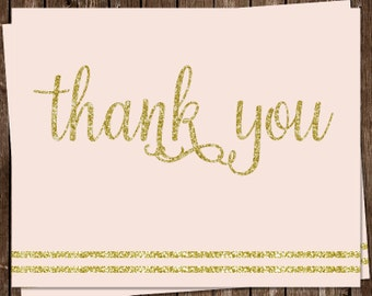 Glitter, Thank You Cards, Baby Shower, It's a Girl, Pink, Gold, Sparkle, Stripes, Blush, Set of 24 Folding Notes, FREE Shipping, ITGRL