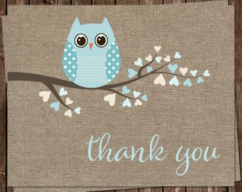Owl Thank You Cards, Burlap Thank You Notes, Baby Shower, Sprinkle, Baby Boy, Aqua Blue, Shabby Chic, 24 Folding Notes, FREE shipping, BAHBL