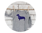 Long Sleeved Dachshund Baby Onepiece, One Piece Infant Bodysuit, Wiener Dog, Cotton Clothing, Family Pet, Baby Shower Gift, Hand Printed