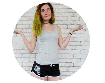 Roller Derby Shorts Screenpritned With a Whistle, Referee Clothing, Booty Shorts, Skating Official Boutfit, Black and White Ladies CLothing