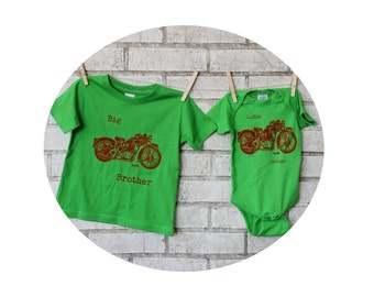 Motorcycle Tshirts, Big Brother Little Brother Set,  Bright apple green or custom colors, Big Sister Little Sister, Hand Screenprinted Biker