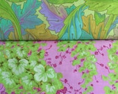 Kaffe Fassett OOP, rare, vhtf Arbor, Dancing Leaves, Jade, Lille collection, half yard bundle, pink, lavender