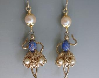 Vintage Dancer Ballerina Pearl Earrings