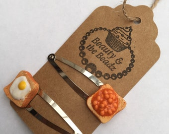 Pair of Novelty polymer clay egg and beans on toast snappy hair clips
