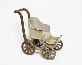 Kilgore Antique Cast Iron Toy Baby Buggy Carriage Stroller