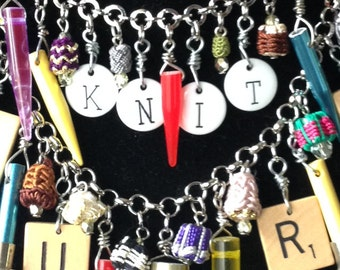 Knit 1 Purl 1: Upcycled Knitting Needle Assemblage Necklace with Altered Scrabble Tiles
