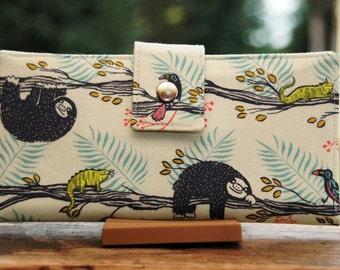 Handmade womens wallet all vegan adorable sloths in a tree