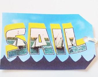 Sailing Tags - Set of 3 - Retro Sailing Tag - Postcard Style - Summer Sail Tag - Beach Sail Tags - Vintage Sailboat - Sailing Fun Tags