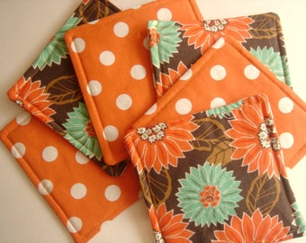 Six Teal and Orange Fabric Coasters with Brown Background Reverse Side Orange Dots