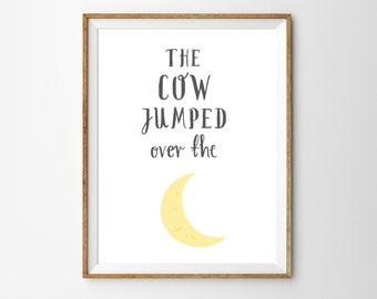 Nursery Rhyme Wall Art Print Kids Moon Decor Classic Themed Baby Room Poster The Cow Jumped Over the Moon