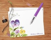 Purple and Gold Pansies - Set of 8 CUSTOM Personalized Flat Note Cards/ Stationery