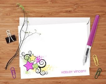 Hadley (Retro Stars and Swirls) - Set of 8 CUSTOM Flat Personalized Note Cards/ Stationery