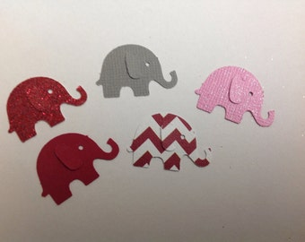 Confetti   50  pc Pink Grey And Red Paper Elephant Baby Shower