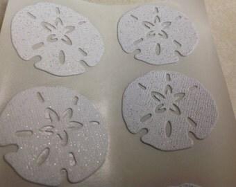 White Glitter Sand dollar stickers 20 pc Wedding Reception Bridal shower