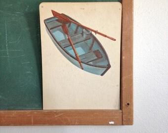 Vintage School Flashcard- Boat